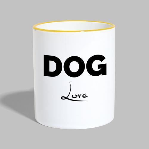 DOG LOVE - Geschenkidee für Hundebesitzer - Tasse zweifarbig
