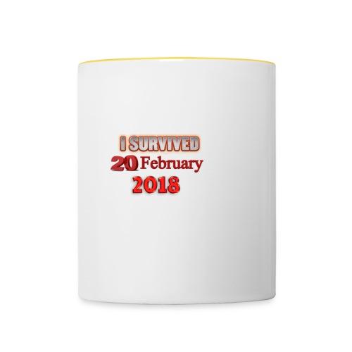 I survived february 20th text - Kaksivärinen muki