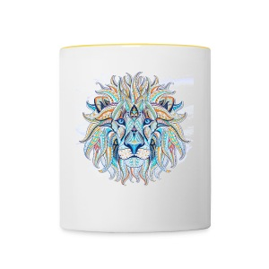 stock vector patterned head of the lion on the gru - Taza en dos colores