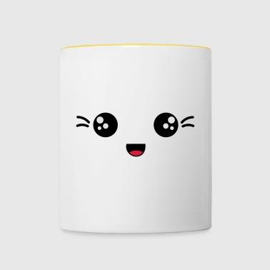gesicht lachend - Tasse zweifarbig