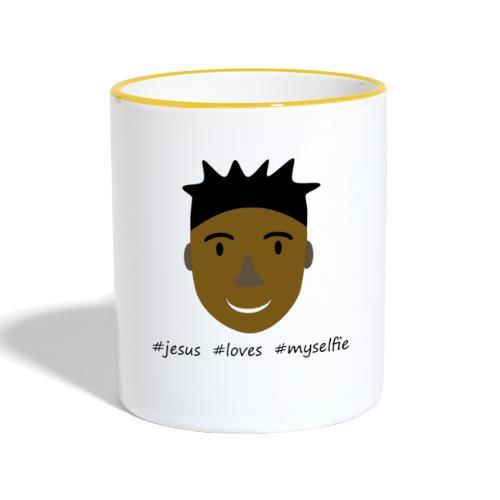 jesus loves myselfie - Tasse zweifarbig