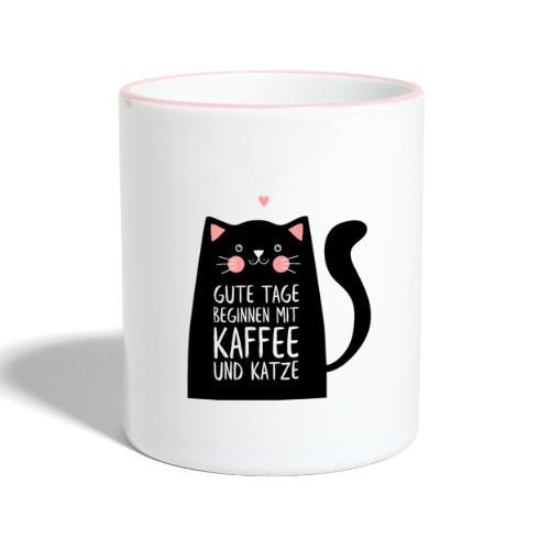 Gute Tage starten mit Kaffee und Katze - Tasse zweifarbig