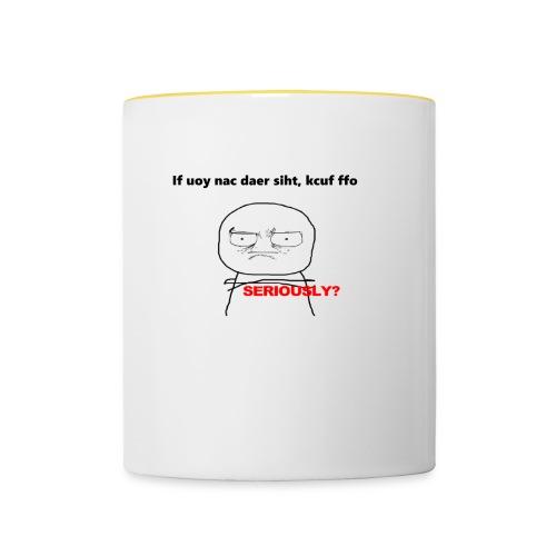 If you can read this f*** off, coffee mug print - Contrasting Mug