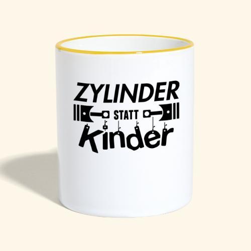Zylinder Statt Kinder - Tasse zweifarbig