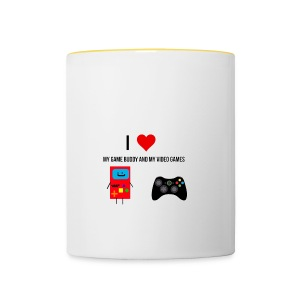 i love my game buddy and my video games - Contrasting Mug