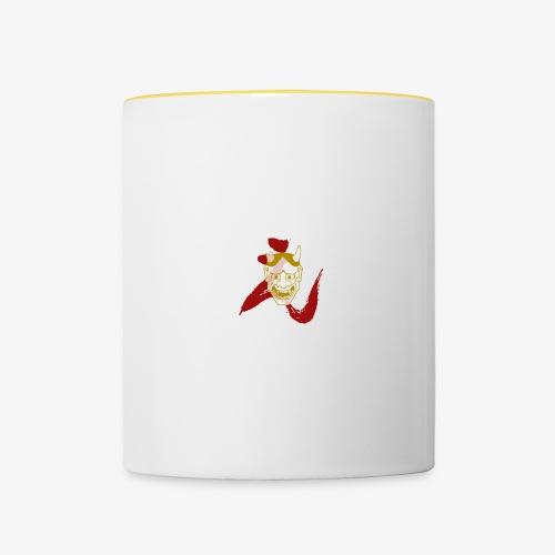 logo rojo mascara dorada - Taza en dos colores
