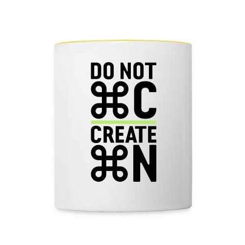 do not copy create something new – Geschenkidee - Tasse zweifarbig