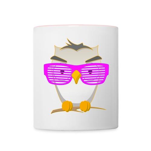 Eule Wald Vogel coole Nerdbrille Geek Big Bang Uhu - Contrasting Mug