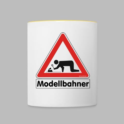 Warnschild Modellbahner Dampflok - Tasse zweifarbig
