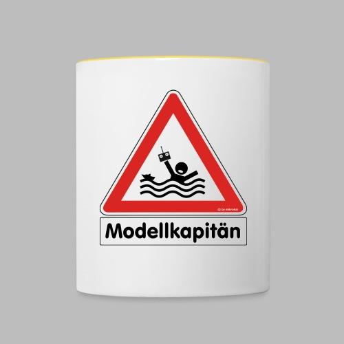 Warnschild Modellkapitän - Tasse zweifarbig