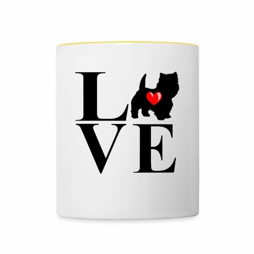 westie love design - Contrasting Mug