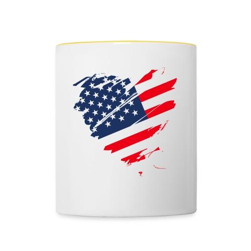 USA Amerika Sterne und Streifen Herz Grunge Flagge - Contrasting Mug