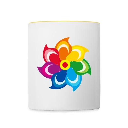 bunte Windmühle Kinderspielzeug Regenbogen Sommer - Contrasting Mug
