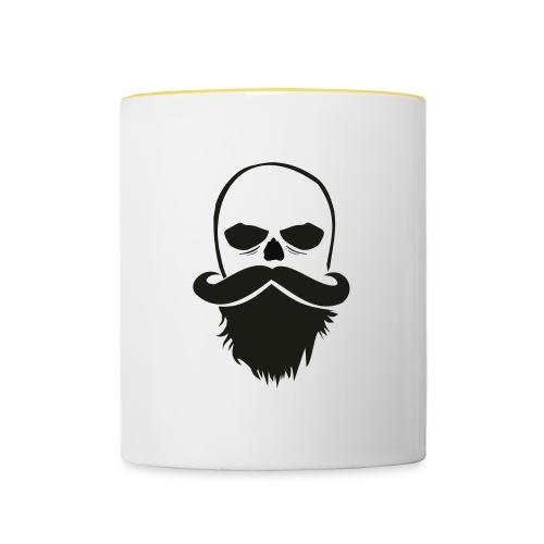 Bartträger Motiv, Scull mit Mustache, Bart-Shirt - Tasse zweifarbig