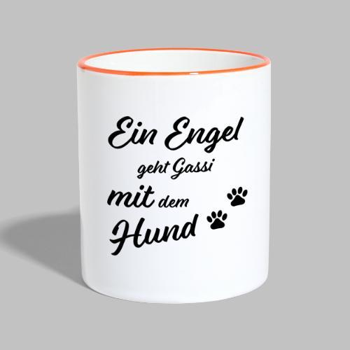 Ein Engel geht Gassi mit dem Hund - V2 - White - Tasse zweifarbig