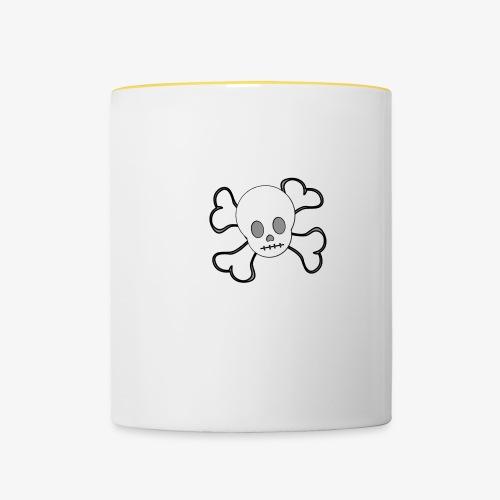 Weißer Totenkopf - Tasse zweifarbig