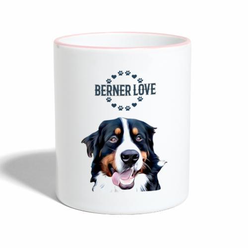 Berner Sennenhund T-Shirt Hundekopf - Tasse zweifarbig