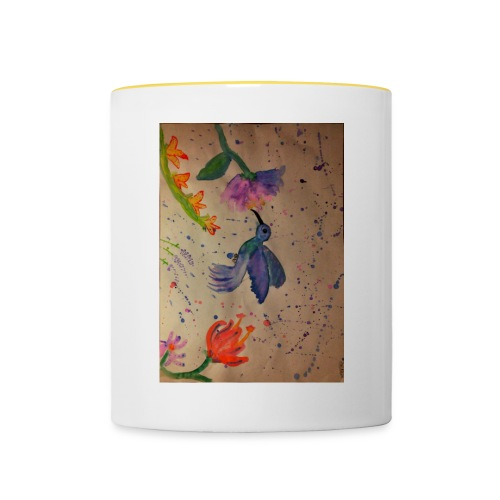 Kolibrie & bloemen - Mok tweekleurig