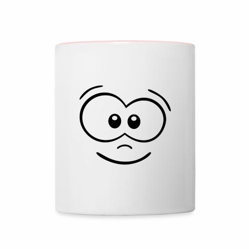 Gesicht fröhlich - Tasse zweifarbig