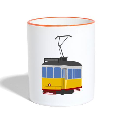 Tram car yellow - Contrasting Mug