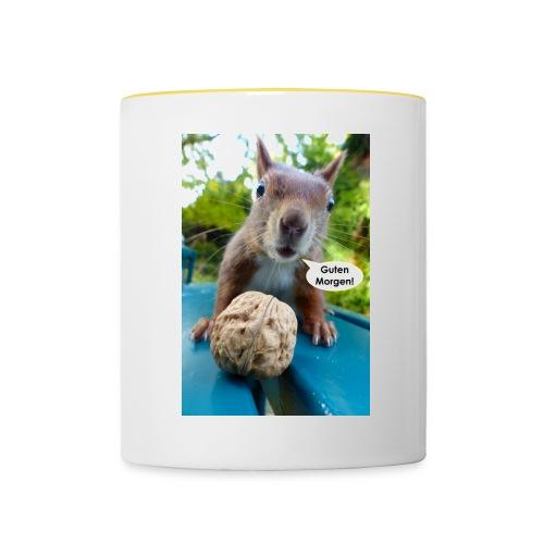 Guten-Morgen-Gruß vom Eichhörnchen - Tasse zweifarbig