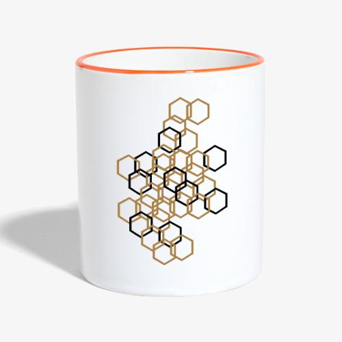 Hexagon Muster - Tasse zweifarbig