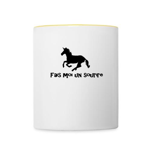 licorne tasse fais moi un sourire - Mug contrasté