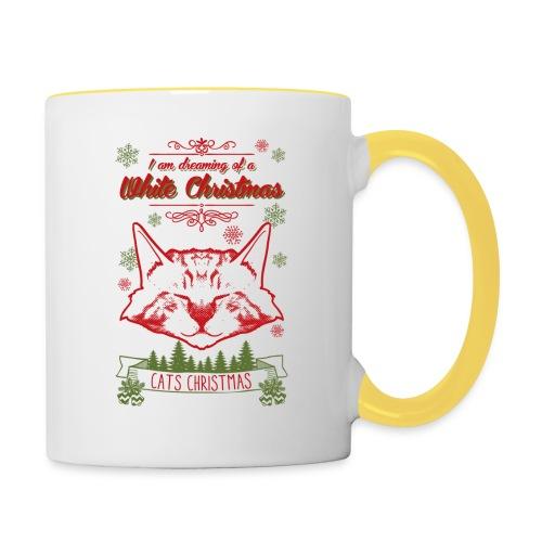 Weihnachtskatze - Tasse zweifarbig