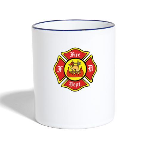 Feuerwehrschild-Fire-Dept - Tasse zweifarbig