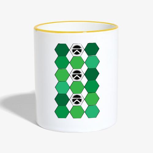 |K·CLOTHES| HEXAGON ESSENCE GREENS & WHITE - Taza en dos colores