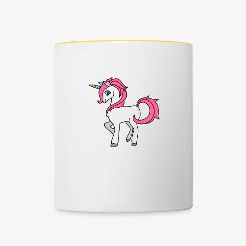 Süsses Einhorn mit rosa Mähne und Regenbogenhorn - Tasse zweifarbig