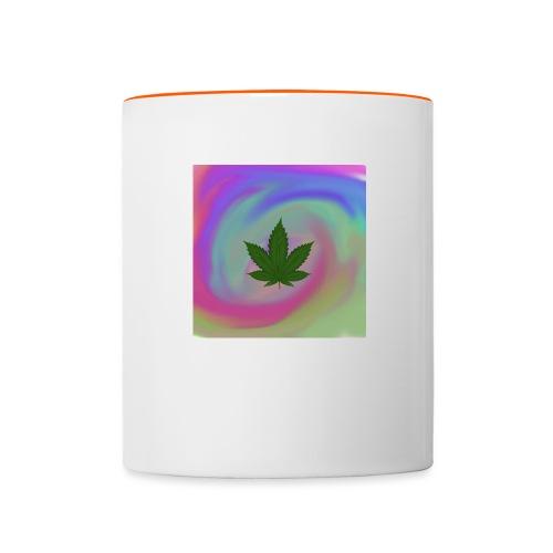 Hanfblatt auf bunten Hintergrund - Tasse zweifarbig