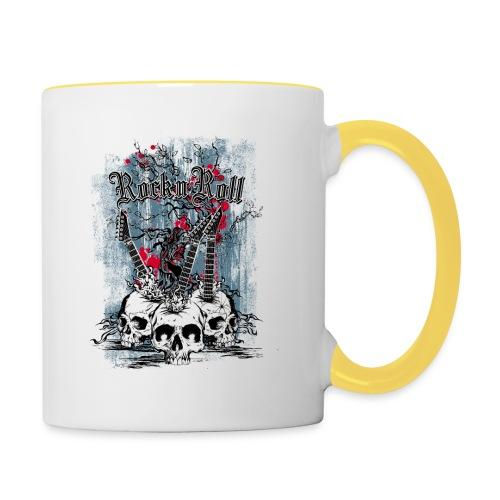 rock n roll skulls - Mok tweekleurig