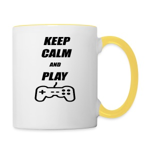 Maglietta Keep Calm And Play bianca. - Tazze bicolor
