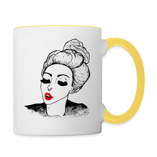 Vintage Retro Girl Kiss message - Contrasting Mug