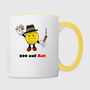 200 auf rot - Tasse zweifarbig