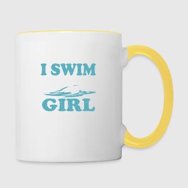 pływak dziewczyna - Kubek dwukolorowy
