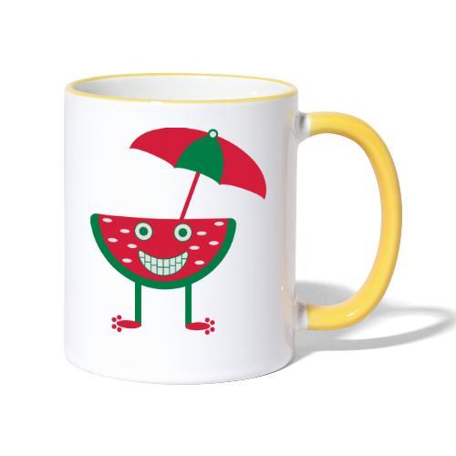 Melone mit Sonnenschirm - Tasse zweifarbig