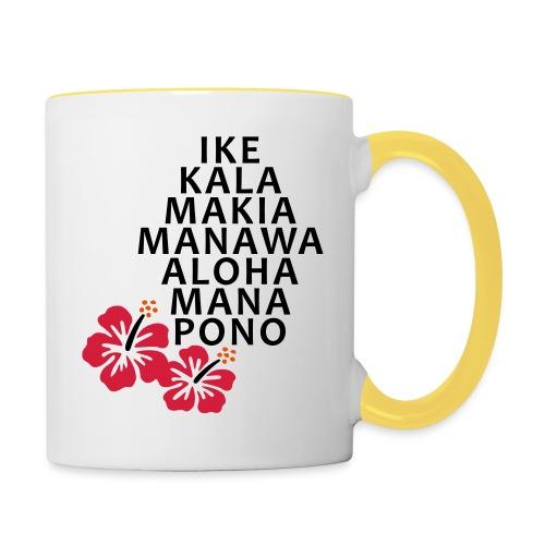 Die 7 Huna Prinzipien / Hibiscus Blüten - Tasse zweifarbig
