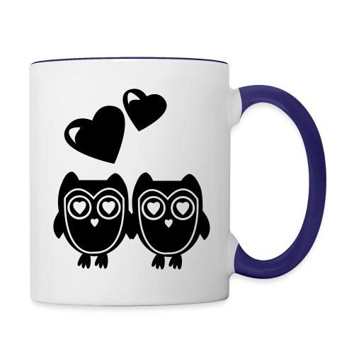 verliebte Eulen - Tasse zweifarbig