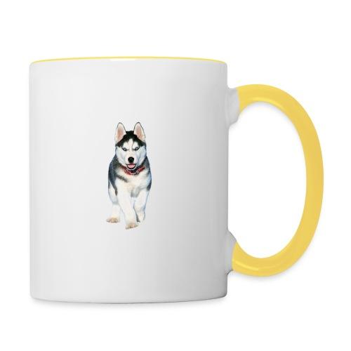 Husky Welpen mit bezaubernden Augen - Tasse zweifarbig
