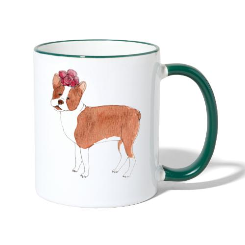 boston terrier with flower - Tofarvet krus