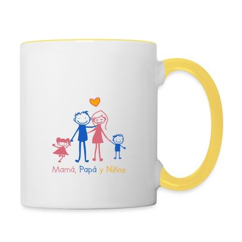 Mamá, Papá y Niños - Taza en dos colores