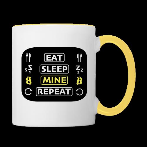 EAT SLEEP MINE REPEAT - Tasse zweifarbig