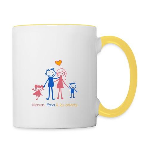 Maman Papa les enfants - Mug contrasté