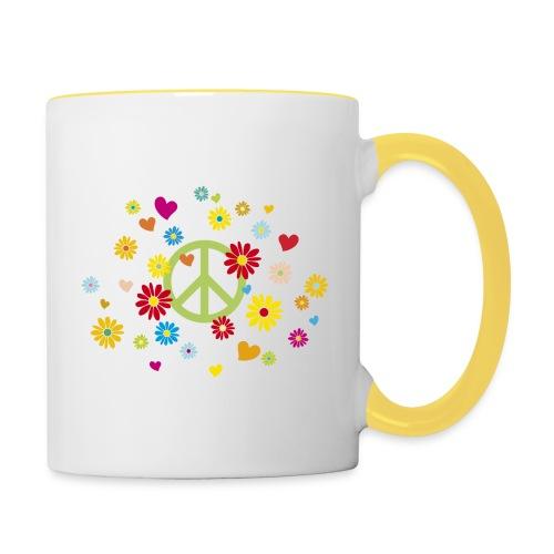 Peacezeichen Blumen Herz flower power Valentinstag - Contrasting Mug