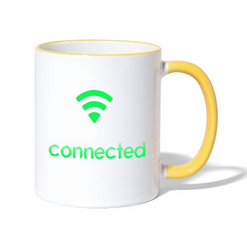 connected grün, Wifi - Tasse zweifarbig