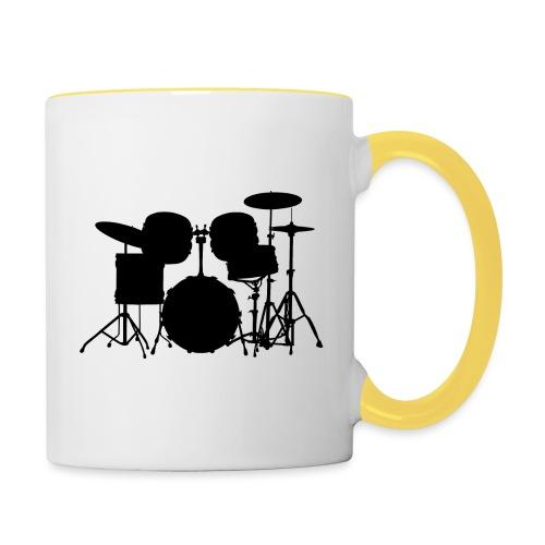 Drumset 1 Kontur schwarz - Tasse zweifarbig