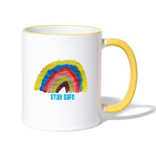 Stay Safe Rainbow Tshirt - Contrasting Mug