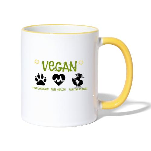 Vegan for animals, health and the environment. - Contrasting Mug